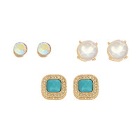 Set of Three Earrings: Iridescent Stud, Clear Stud, and a Turquoise Stud with a Halo