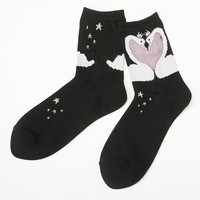 See-through part Swan Heart socks: socks | tutu Anna official online store - tutuanna