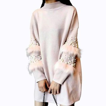 PERHAPS U Autumn Pearl Beads Fur jumper Knitted Dress Loose Pink Gray White Black Long Lantern Sleeve Sweater Patchwork D0214