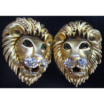 Stunning Vintage Lion Heads bedazzled with Clear & Emerald Rhinestones Clip On earrings so '80's