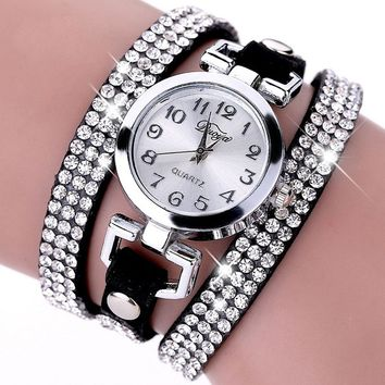 1PC Rhinestone Leather Round Bracelet Wristwatches Women Watch Dress Watch Vintage Clock Lady Quartz Watch