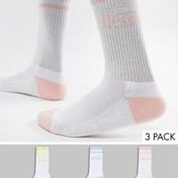 ellesse Ferre 3 pack socks in white at asos.com