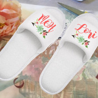 Set of White Terry Bridal Party Slippers, Gifts for Bridesmaid, Maid of Honor, Mother of Bride, Personalized party favors