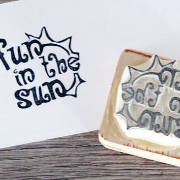 Fun in the Sun Rubber Stamp Summer Stamp Hand carved by LetterKay