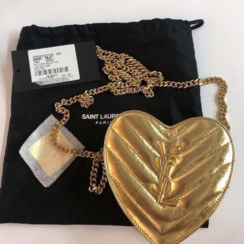 LMFDC0 saint laurent Ysl Metallic Gold Mini Heart Bag