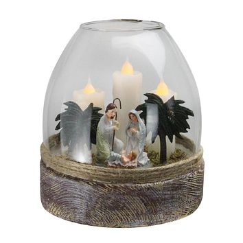 """5"""" Clear Glass Joseph  Mary and Jesus Figurine Flickering Candle Jar"""