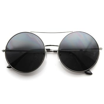 Large Round Metal Circle Frame Sunglasses w/ Cross Bar