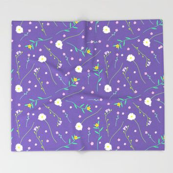 Simple flowers and purple Throw Blanket by Sagacious Design