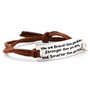 'You are Braver Than you Believe' Leather Bracelet