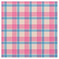 Pink Rose Plaid Pattern Fabric