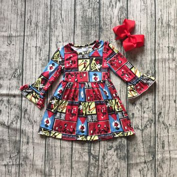 new milk silk Carton girls children clothes baby Fall/Winter long sleeve ruffle dress boutique kids wear with match clip bow