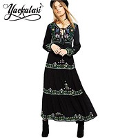YACKALASI Bohemian  New Black Dress Embroidered Long Sleeve boho chic Dress style maxi dresses Vestidos V-neck cotton women clothing