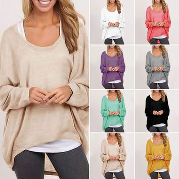 Womens Oversized Long Sleeve Pullover Sweat Shirts Loose Baggy Jumper Tops S-XXL