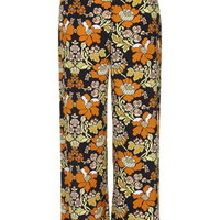'70s Floral Print Wide Leg Pants - Multi