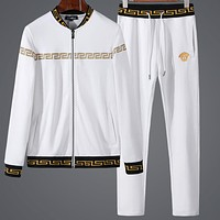Versace spring and autumn sports suit trend casual baseball uniform two-piece F-BJQSFS White