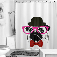 PUG tank t shirt crazy shower curtain