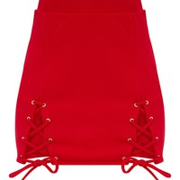 Red Double Split Lace Up Mini Skirt