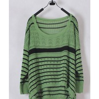 Women Euro Style Autumn Winter Long Sleeve Loose Green Knitting Sweater One Size@WH0136gr $9.99 only in eFexcity.com.