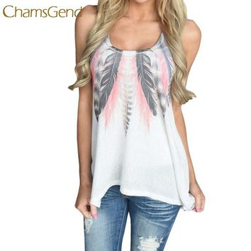 Elegant 2017 Summer Women Top Feather Sleeveless Shirts Casual Tank Tops M29