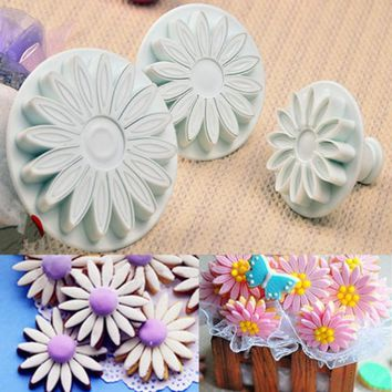 3Pcs/set Veined Sunflower Sugarcraft Daisy Gerbera Flower Fondant Cake Cookie Plunger Cutter galletas embolo Cake Decorating