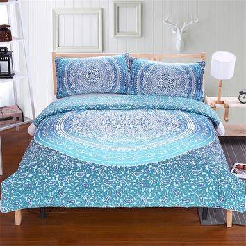 Luxury Boho Bedding Set Crystal Arrays Duvet Quilt Cover with Pillow Cases Blue Printed Soft Bedspread