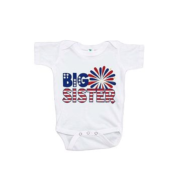Custom Party Shop Baby Girls' Big Sister 4th of July Onepiece