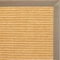 Tan Sisal Rug with Putty Canvas Border