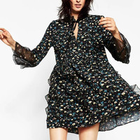 Lotus Leaf Trumpet Sleeve Floral Dress