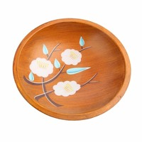Handmade Painted Flower Wooden Serving Plate Round Wooden Food Serving Tray Salad Sushi Dishes Party Supplies