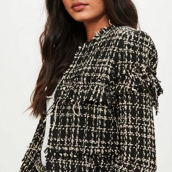 Missguided - Black Boucle Tailored Jacket