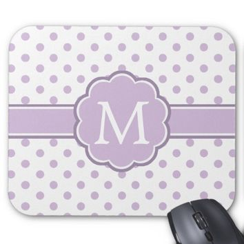 Cute Girly Polka Dots Violet & White Monogram Mouse Pad