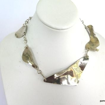 Large Silver Necklace Choker, Boho Chic Statement Necklace