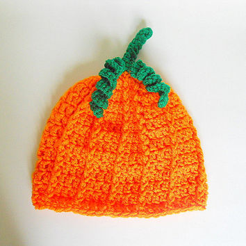Toddler Pumpkin  Hat Infant Girl Orange Cap Baby Boy Halloween Beanie Crochet Autumn Photo Prop Children 2 To 5 Years  Fall Clothing