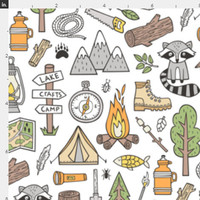 Woodland Camping Fabric by the Yard Cotton Quilting Fabric Childrens Fabric Nursery Room Racoon Mountains Camping Fishing Fabric 6135069