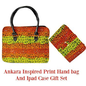 African Print Bag  Purse With Ipad Gift Set Orange