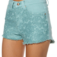 SOMEDAYS LOVIN NIGHT FEVER DENIM SHORT - MINT