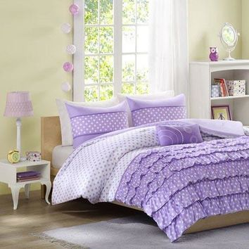 Morgan Polyester Microfiber Printed Ruffled Comforter Set - Bedding | Mi Zone