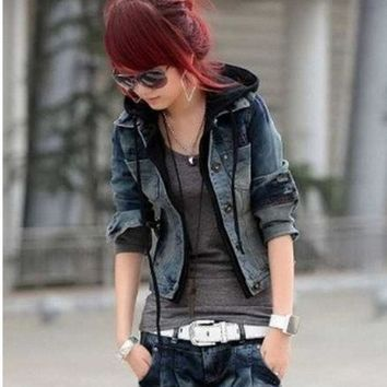 Women 2015 New Fake Two Pieces Long Sleeve Single Breasted Hooded Denim Jeans Wear Short Coat Jackets