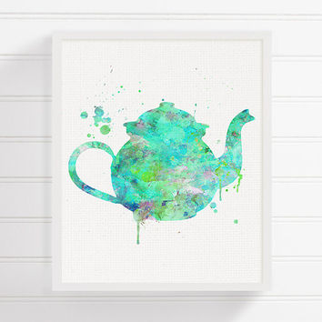 Turquoise Teapot Painting, Watercolor Teapot, Teapot Print,Kitchen Art, Kitchen Decor, Kitchen Painting, Kitchen Print, Modern Home Decor
