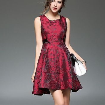 Burgundy Jacquard Pattern Sleeveless Mini Dress