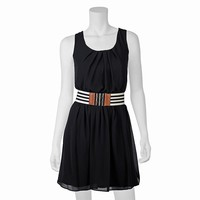 IZ Byer California Pleated Juniors' Babydoll Dress, Size: