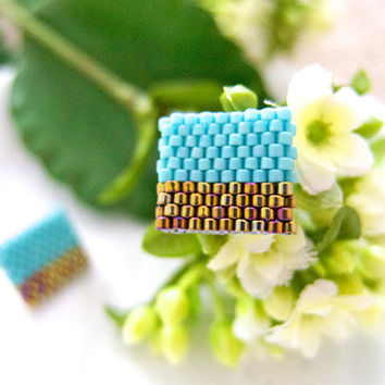 Turquoise Gold Beaded Color Block Ear Studs by JeannieRichard