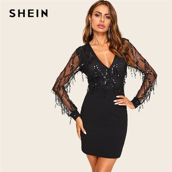 4e4349e32e8f SHEIN Black Sequin Mesh Overlay Deep V Neck Bodycon Summer Sheer