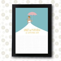 Bridal Shower Wedding Guest Book unique Bride umbrella / printable pdf /  guestbooks groom alternative ideas friends personalized signature