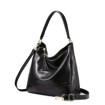 Women leather handbags female genuine leather shoulder bag large hobos tote bag with tassel Black/Brown/Red/Green