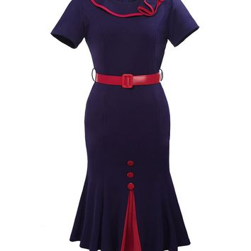 Casual Mermaid Doll Collar Plus Size Bodycon Dress With Contrast Trim And Button