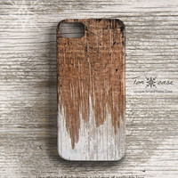 Wood iPhone 5 case - iPhone 4 case, iPhone 4s case, High quality 3D printing, Gift for men, scratch - black and white painted wood (c12)