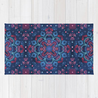Cherry Red & Navy Blue Watercolor Floral Pattern Rug by Micklyn