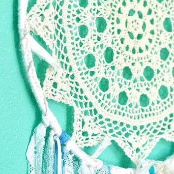 Large Bohemian Dreamcatcher, Doily Gypsy Dream Catcher, Frozen, Vintage Doily and Lace Mobile