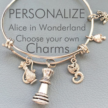 Alice in Wonderland Customize Inspired by Charm Bracelet,  Charms, Personalized Gift, Trippy Jewelry, Festival Fashion, Lewis Carroll